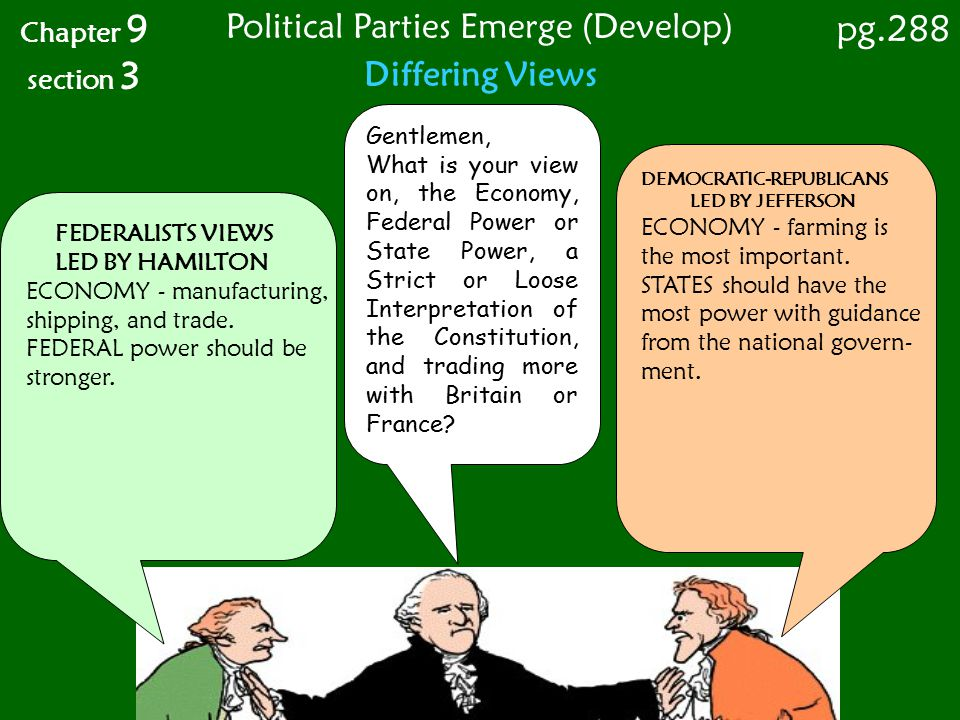 Differing Views Chapter 9 section 3 FEDERALISTS VIEWS LED BY HAMILTON ECONOMY - manufacturing, shipping, and trade. FEDERAL power should be stronger.