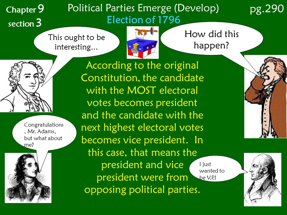 Election of 1796 Chapter 9 section 3 pg.290 Political Parties Emerge (Develop) How did this happen? This ought to be interesting... I just wanted to b