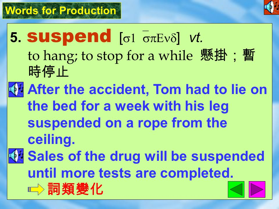 Words for Production 5.suspend [ s1`spEnd ] vt.
