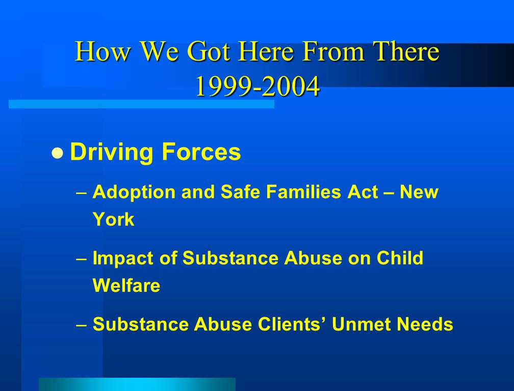 How We Got Here From There 1999-2004 Driving Forces –Adoption and Safe Families Act – New York –Impact of Substance Abuse on Child Welfare –Substance Abuse Clients' Unmet Needs
