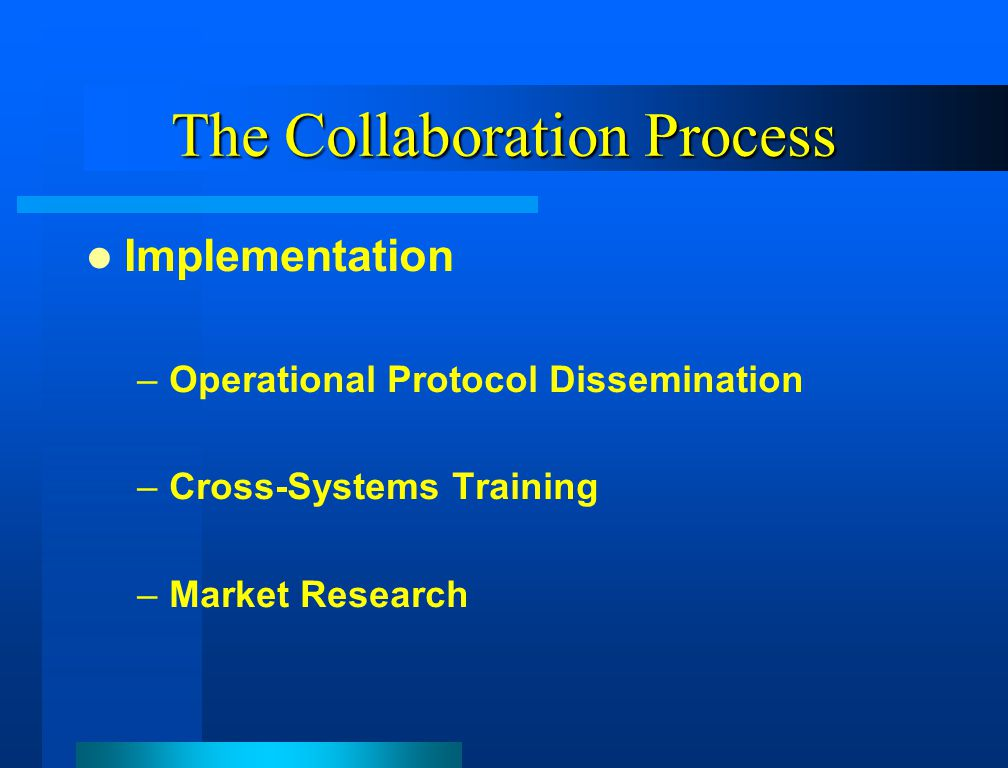 The Collaboration Process Implementation –Operational Protocol Dissemination –Cross-Systems Training –Market Research