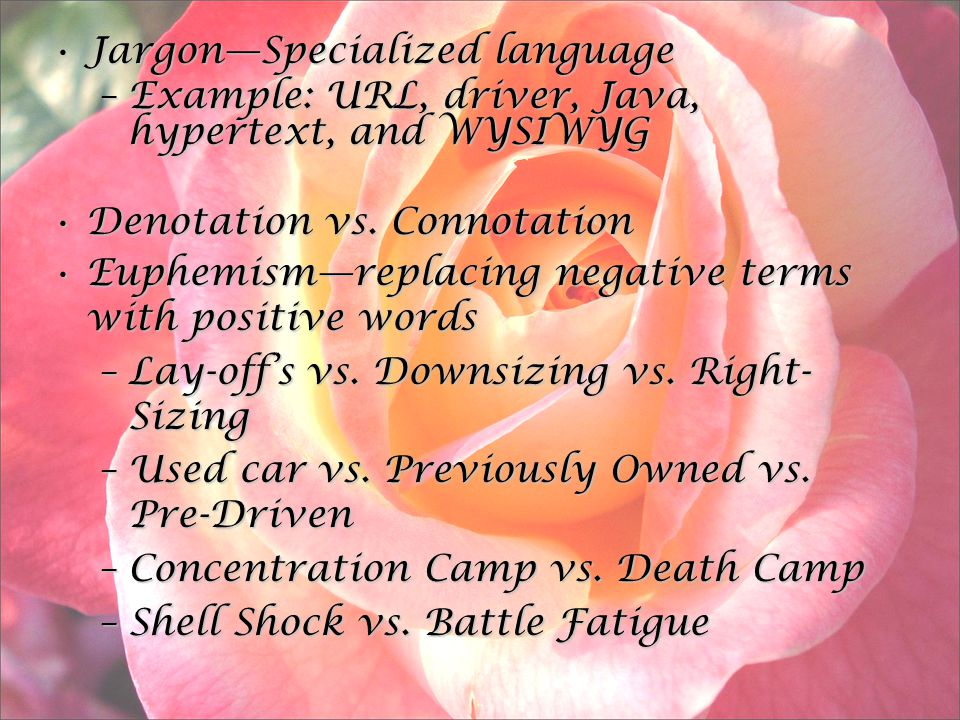 Jargon—Specialized languageJargon—Specialized language –Example: URL, driver, Java, hypertext, and WYSIWYG Denotation vs.