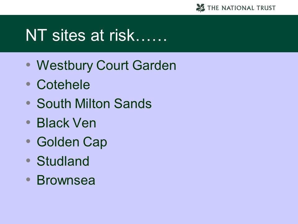 NT sites at risk…… Westbury Court Garden Cotehele South Milton Sands Black Ven Golden Cap Studland Brownsea