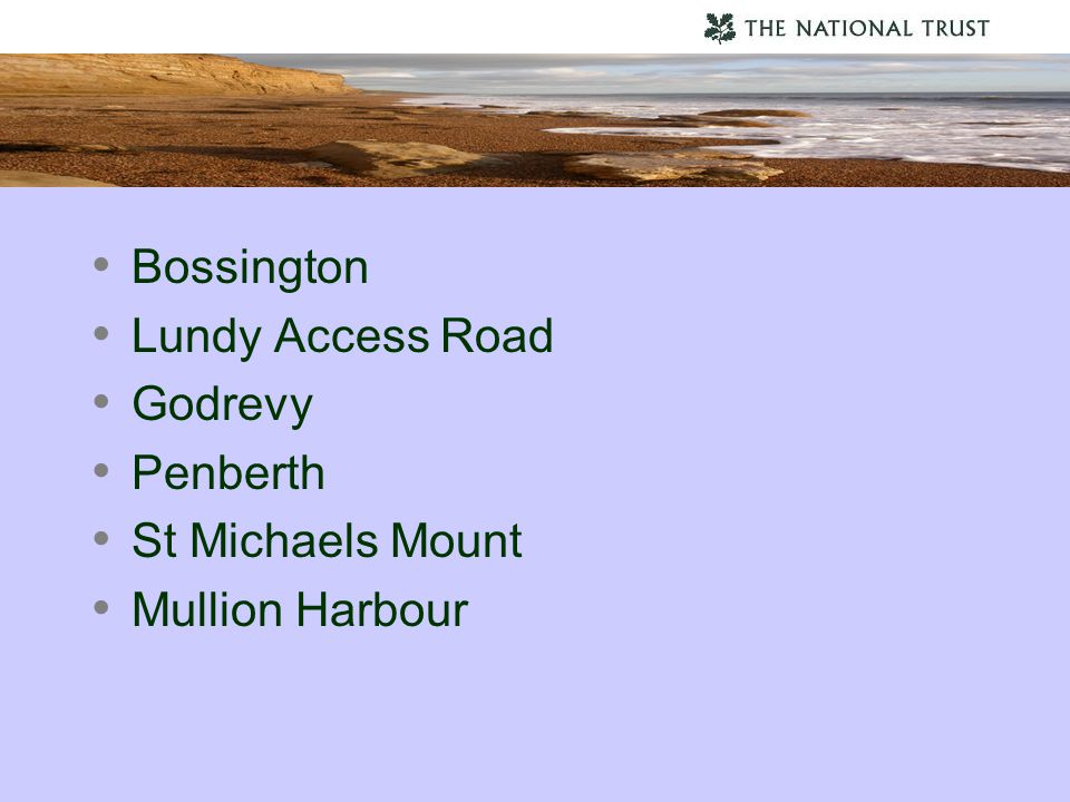 Bossington Lundy Access Road Godrevy Penberth St Michaels Mount Mullion Harbour