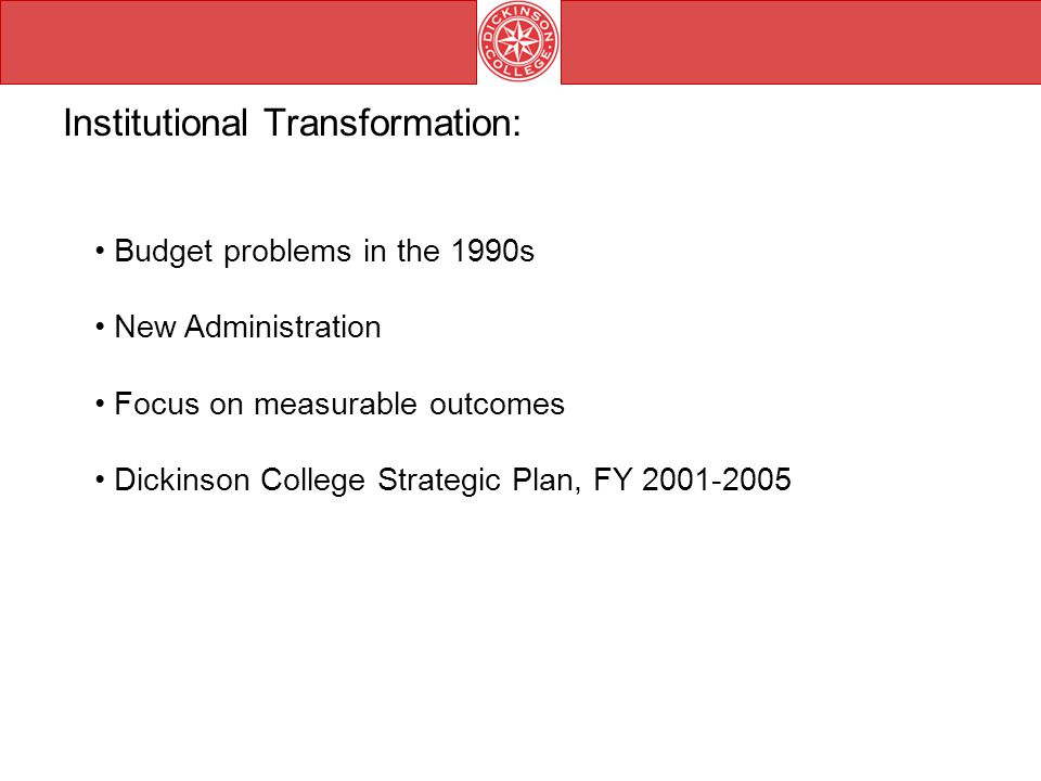 Budget problems in the 1990s New Administration Focus on measurable outcomes Dickinson College Strategic Plan, FY Institutional Transformation: