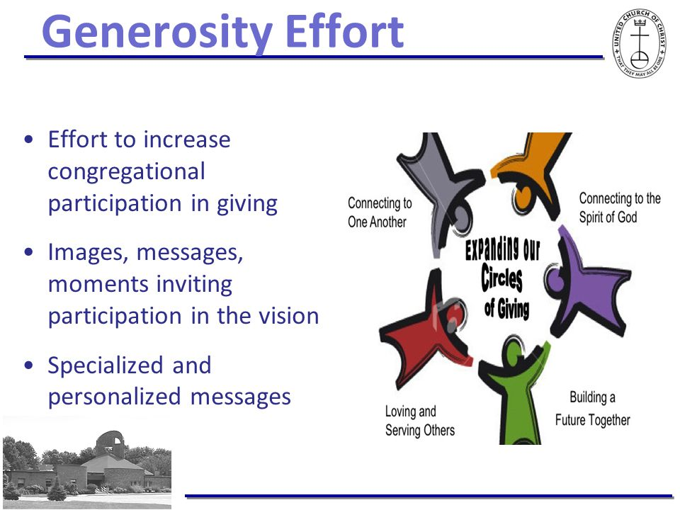 Generosity Effort Effort to increase congregational participation in giving Images, messages, moments inviting participation in the vision Specialized and personalized messages