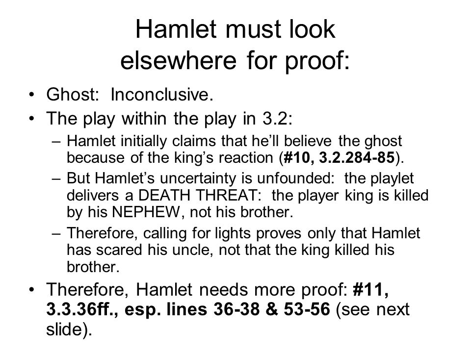 Hamlet must look elsewhere for proof: Ghost: Inconclusive.