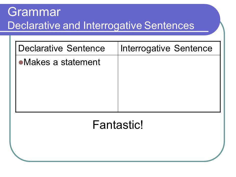 Grammar Declarative and Interrogative Sentences Declarative SentenceInterrogative Sentence Makes a statement Fantastic!