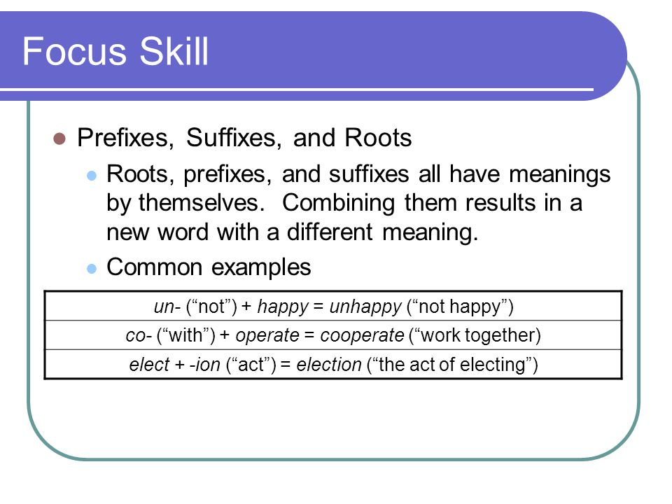 Focus Skill Prefixes, Suffixes, and Roots Roots, prefixes, and suffixes all have meanings by themselves.