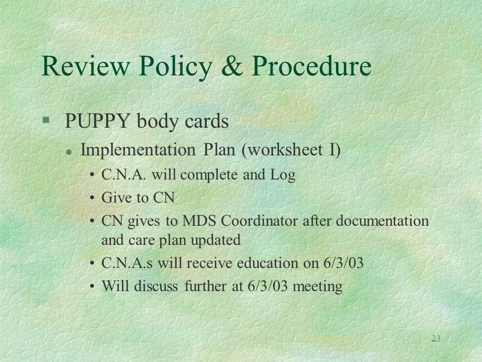 23 Review Policy & Procedure § PUPPY body cards l Implementation Plan (worksheet I) C.N.A.