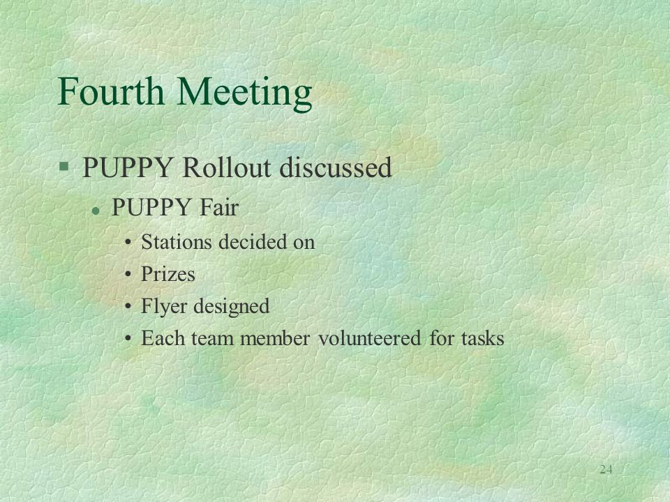 24 Fourth Meeting §PUPPY Rollout discussed l PUPPY Fair Stations decided on Prizes Flyer designed Each team member volunteered for tasks
