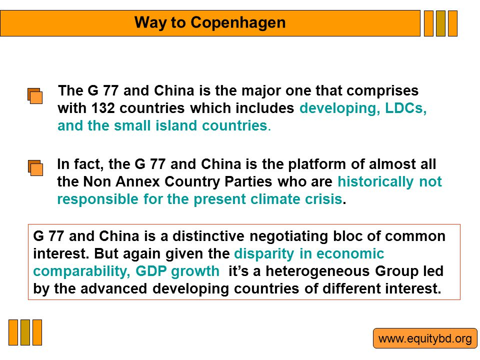 www.equitybd.org The G 77 and China is the major one that comprises with 132 countries which includes developing, LDCs, and the small island countries.