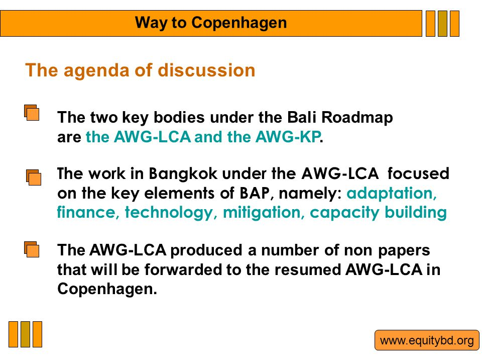 www.equitybd.org The two key bodies under the Bali Roadmap are the AWG-LCA and the AWG-KP.