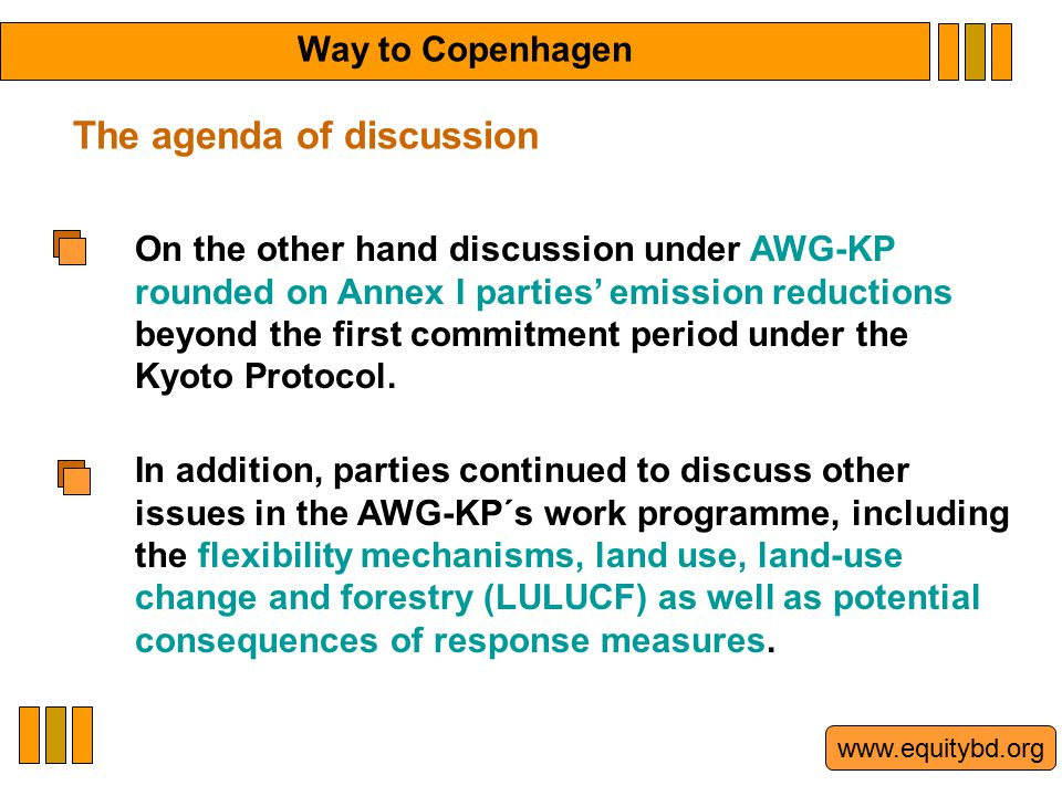 www.equitybd.org On the other hand discussion under AWG-KP rounded on Annex I parties' emission reductions beyond the first commitment period under th