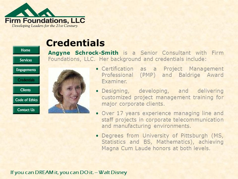 Angyne Schrock-Smith is a Senior Consultant with Firm Foundations, LLC.