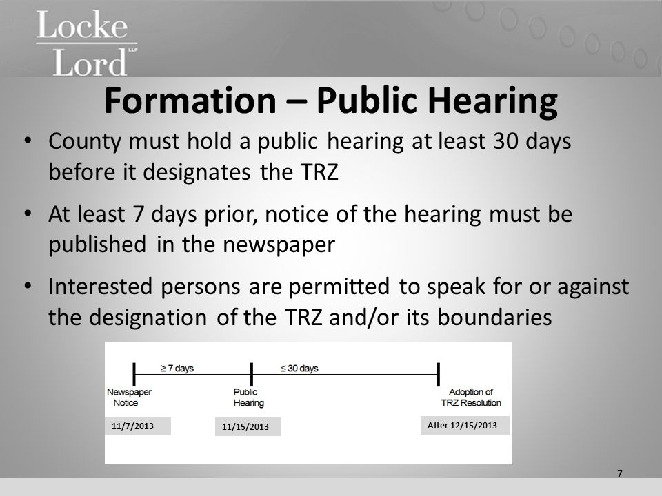 Formation – Public Hearing County must hold a public hearing at least 30 days before it designates the TRZ At least 7 days prior, notice of the hearin