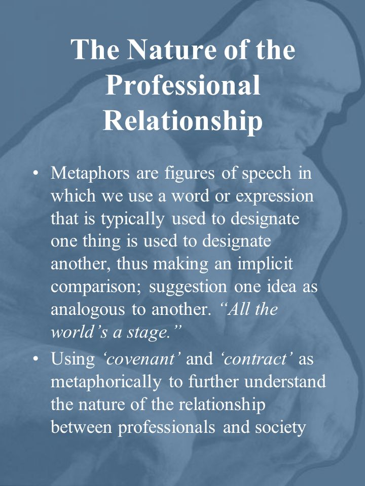 The Nature of the Professional Relationship Metaphors are figures of speech in which we use a word or expression that is typically used to designate one thing is used to designate another, thus making an implicit comparison; suggestion one idea as analogous to another.