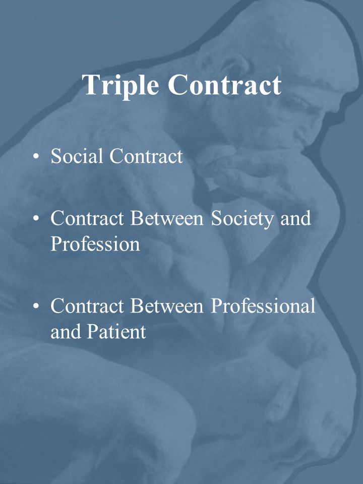 Triple Contract Social Contract Contract Between Society and Profession Contract Between Professional and Patient