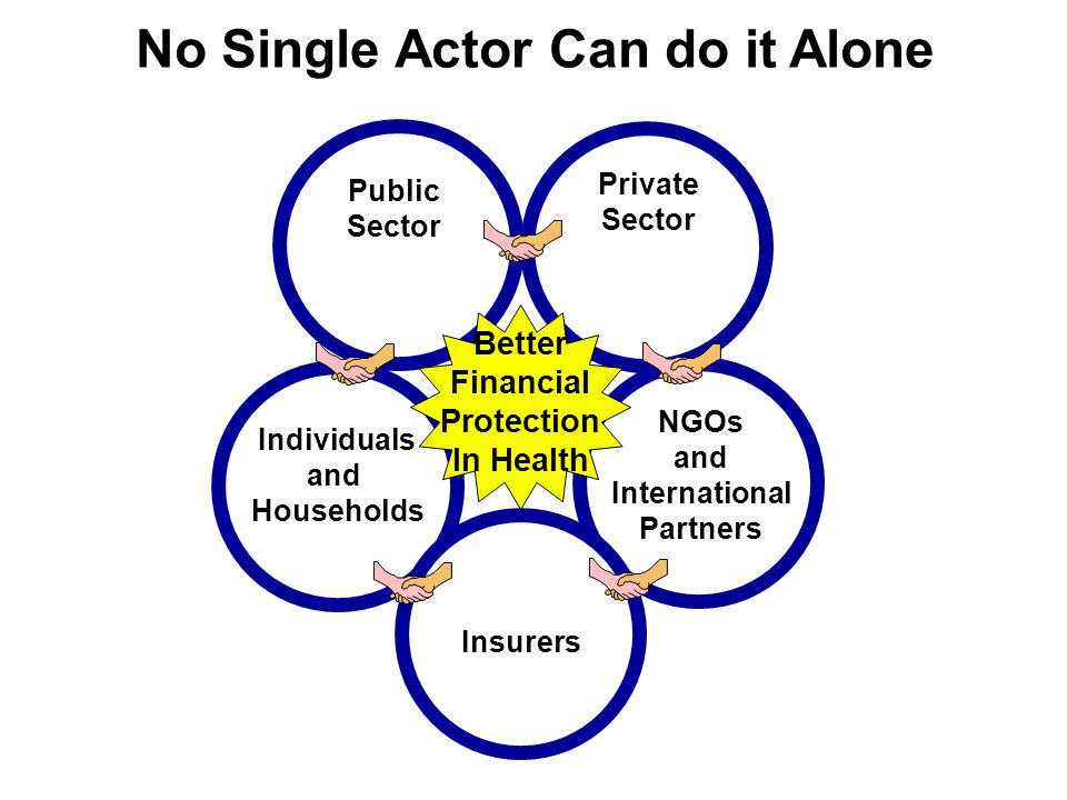 Public Sector Private Sector NGOs and International Partners Individuals and Households No Single Actor Can do it Alone Insurers Better Financial Prot