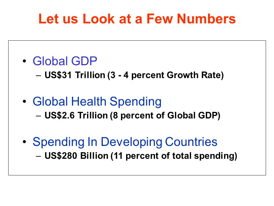 Global GDP –US$31 Trillion (3 - 4 percent Growth Rate) Global Health Spending –US$2.6 Trillion (8 percent of Global GDP) Spending In Developing Countries –US$280 Billion (11 percent of total spending) Let us Look at a Few Numbers