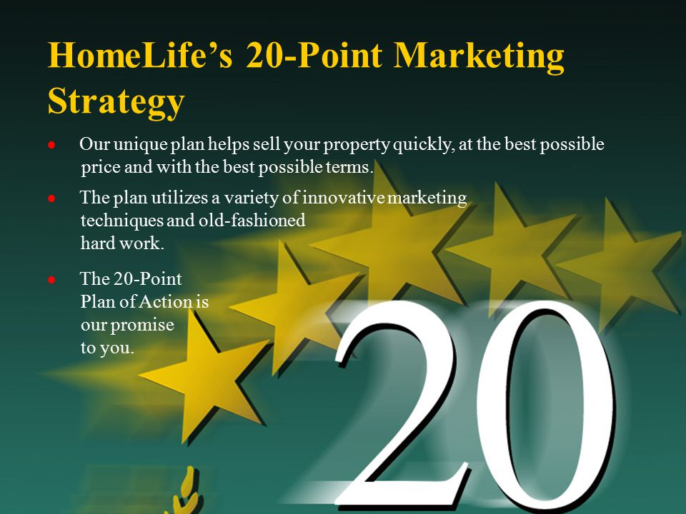  Our unique plan helps sell your property quickly, at the best possible price and with the best possible terms. HomeLife's 20-Point Marketing Strateg