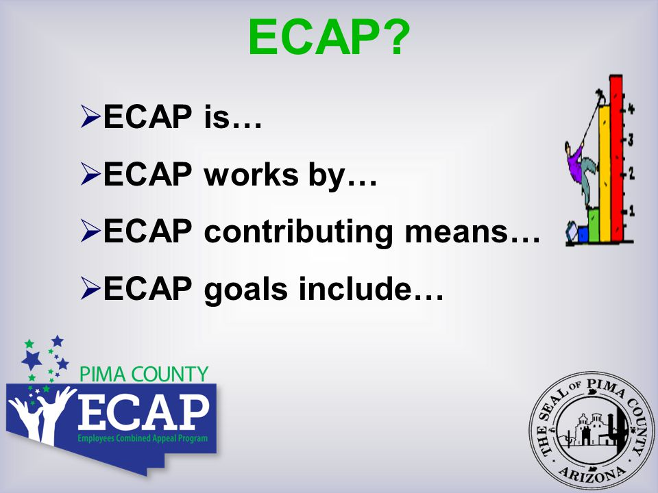 The Employees Combined Appeal Program (ECAP) is the combined effort of all Pima County employees providing financial support to over 275 charities in our community