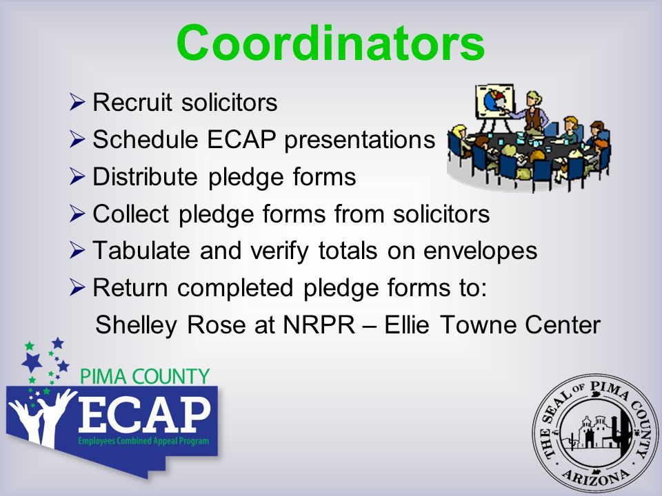  Meet with coordinator  Schedule presentations  Collect pledge forms from employees  Tabulate and verify totals  Return completed report envelope to ECAP Coordinator Solicitors