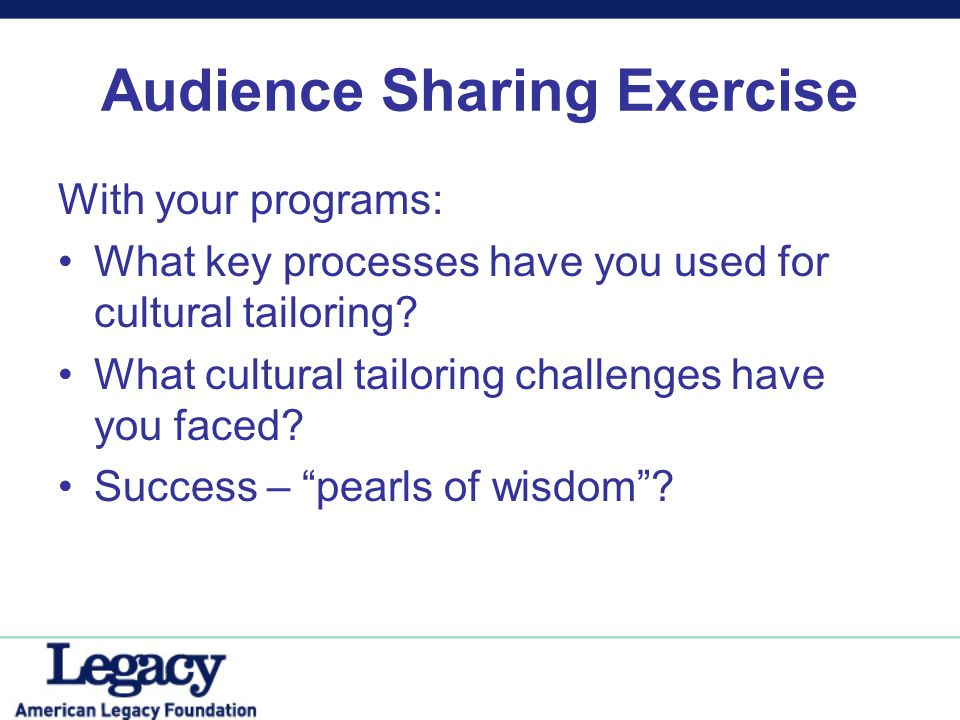 Audience Sharing Exercise With your programs: What key processes have you used for cultural tailoring? What cultural tailoring challenges have you fac