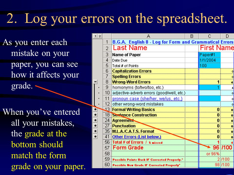 2. Log your errors on the spreadsheet.