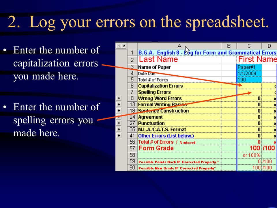 2. Log your errors on the spreadsheet. Enter the number of capitalization errors you made here.