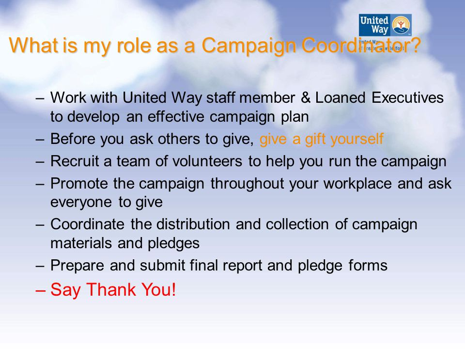 What is my role as a Campaign Coordinator.
