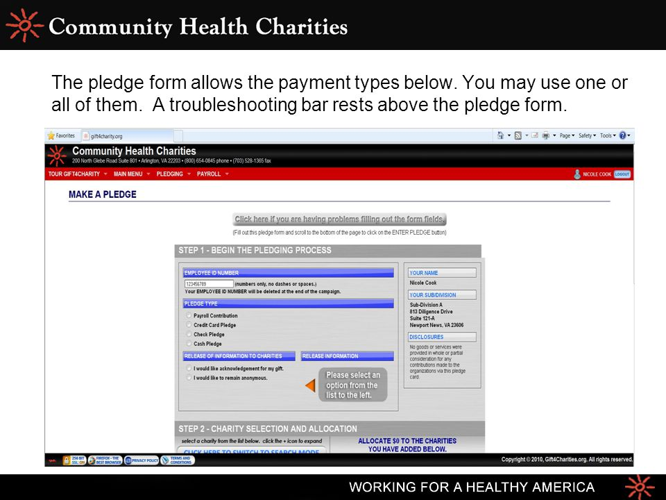 The pledge form allows the payment types below. You may use one or all of them. A troubleshooting bar rests above the pledge form.