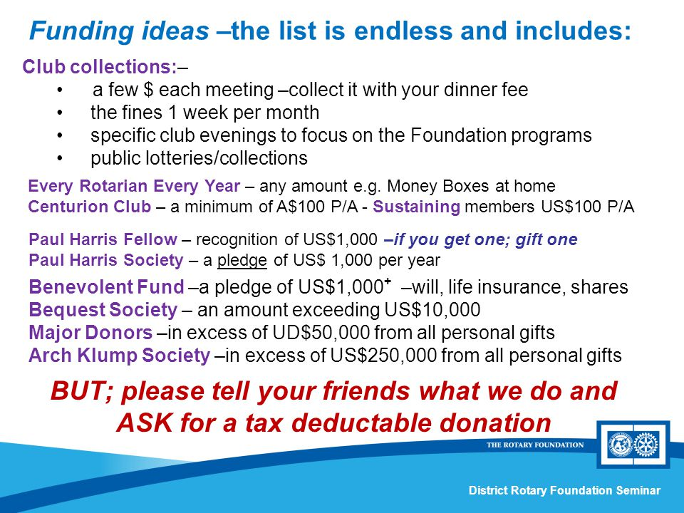 District Rotary Foundation Seminar Benevolent Fund –a pledge of US$1,000 + –will, life insurance, shares Bequest Society – an amount exceeding US$10,000 Major Donors –in excess of UD$50,000 from all personal gifts Arch Klump Society –in excess of US$250,000 from all personal gifts Club collections:– a few $ each meeting –collect it with your dinner fee the fines 1 week per month specific club evenings to focus on the Foundation programs public lotteries/collections Every Rotarian Every Year – any amount e.g.