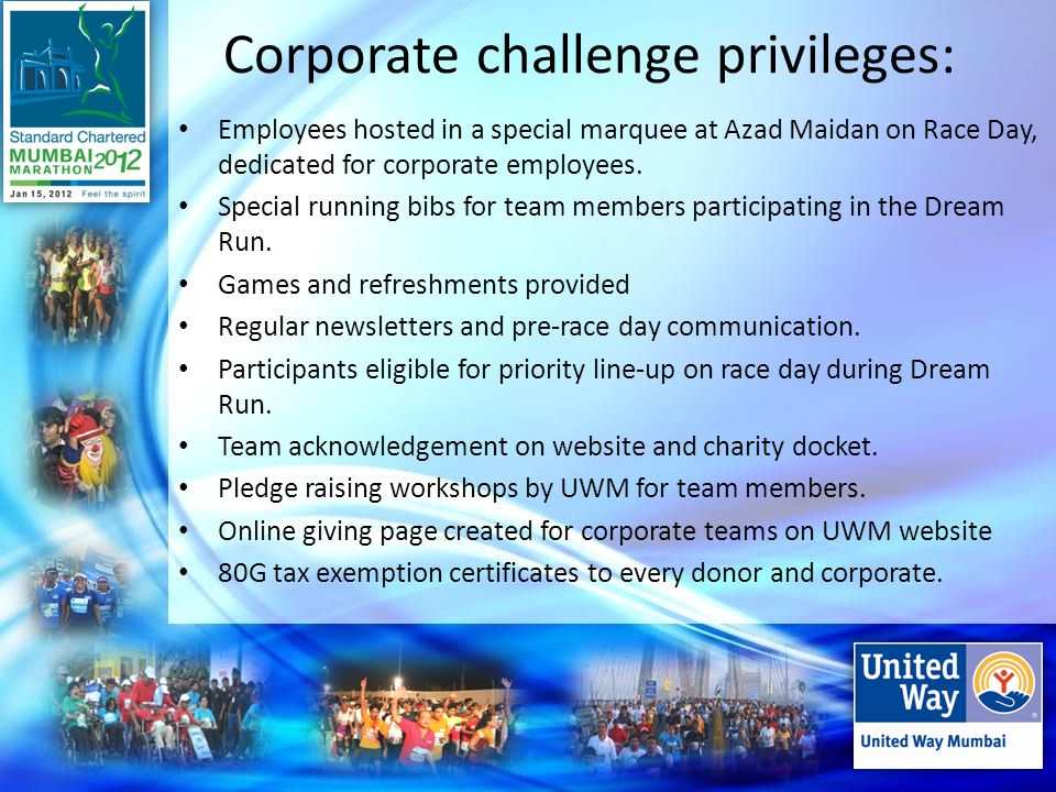 Corporate challenge privileges: Employees hosted in a special marquee at Azad Maidan on Race Day, dedicated for corporate employees.