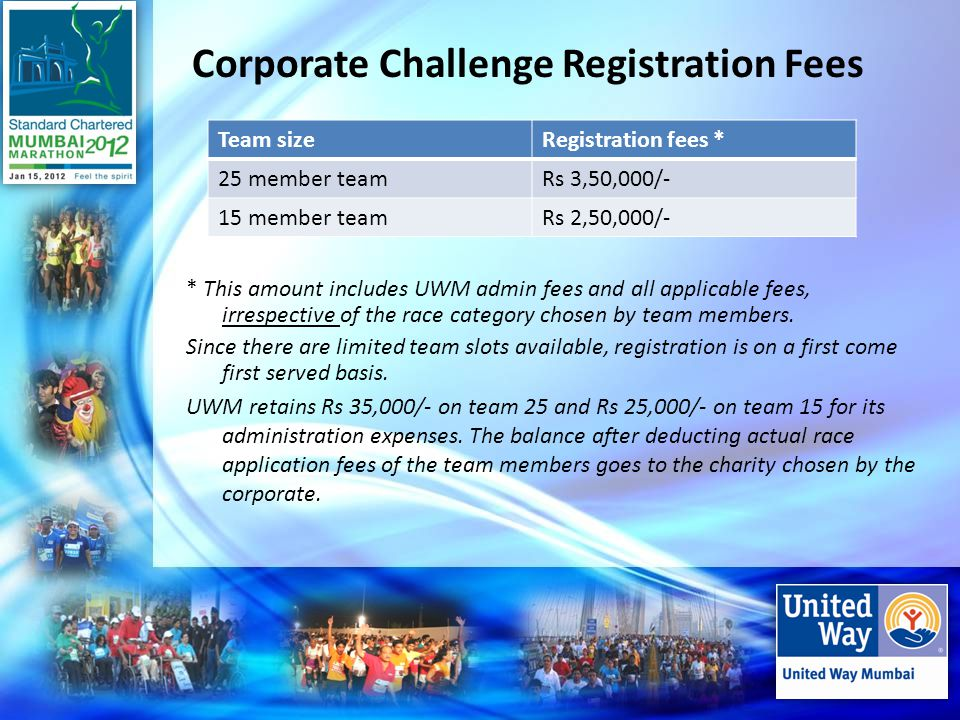 Corporate Challenge Registration Fees * This amount includes UWM admin fees and all applicable fees, irrespective of the race category chosen by team members.