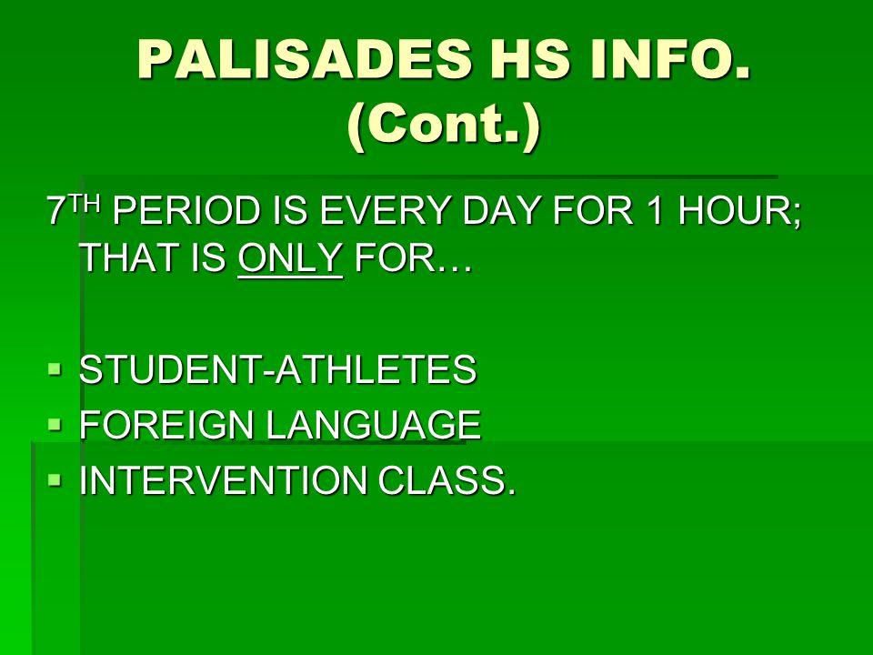 PALISADES HS INFO.