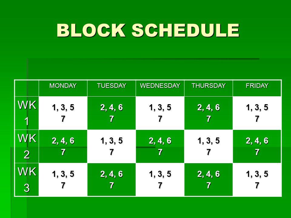 BLOCK SCHEDULE MONDAYTUESDAYWEDNESDAYTHURSDAYFRIDAY WK1 1, 3, 5 7 2, 4, 6 7 1, 3, 5 7 2, 4, 6 7 1, 3, 5 7 WK2 2, 4, 6 7 1, 3, 5 7 2, 4, 6 7 1, 3, 5 7 2, 4, 6 7 WK3 1, 3, 5 7 2, 4, 6 7 1, 3, 5 7 2, 4, 6 7 1, 3, 5 7