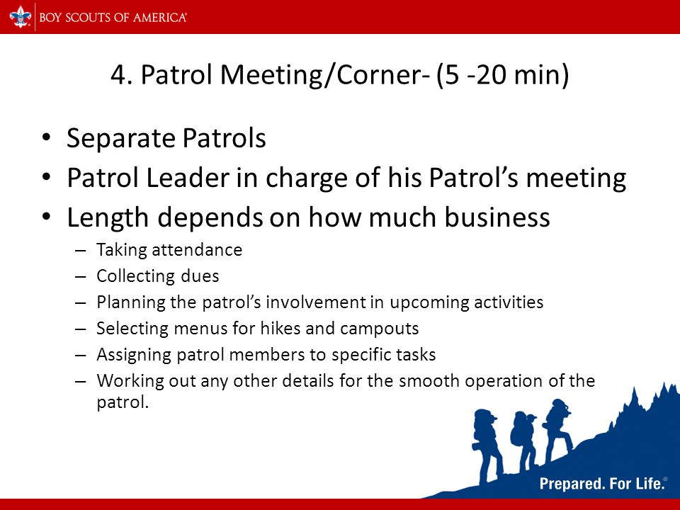 4. Patrol Meeting/Corner- (5 -20 min) Separate Patrols Patrol Leader in charge of his Patrol's meeting Length depends on how much business – Taking at