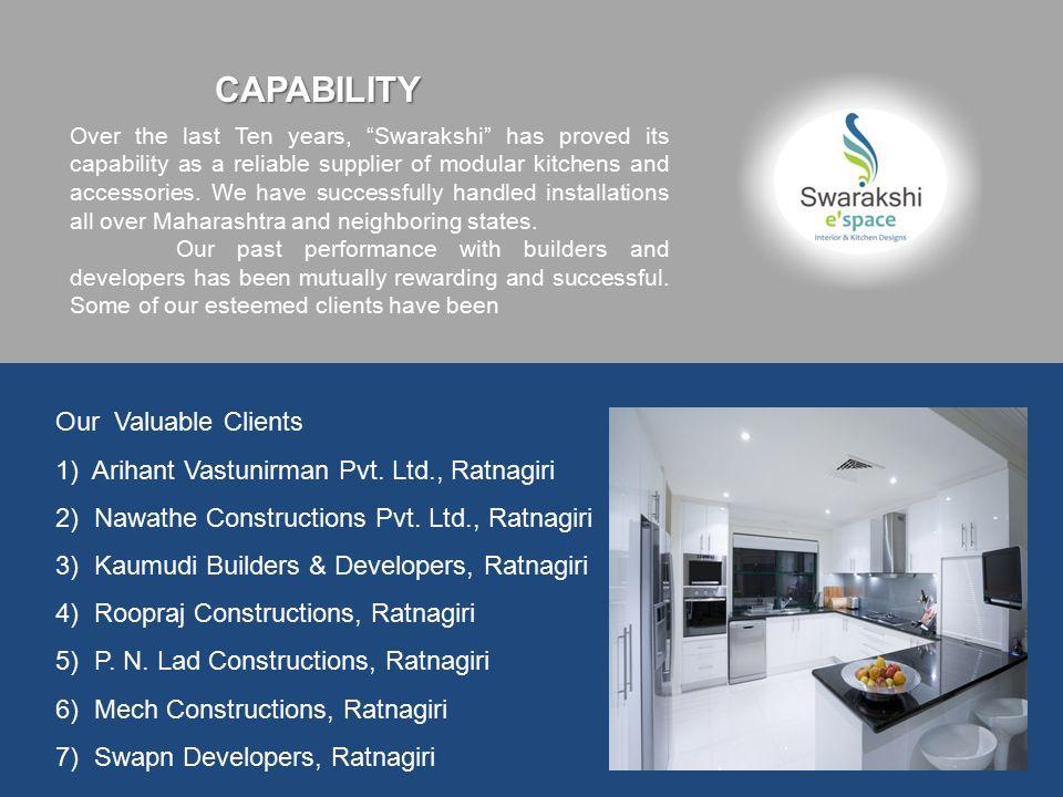 Our Valuable Clients 1) Arihant Vastunirman Pvt. Ltd., Ratnagiri 2) Nawathe Constructions Pvt.