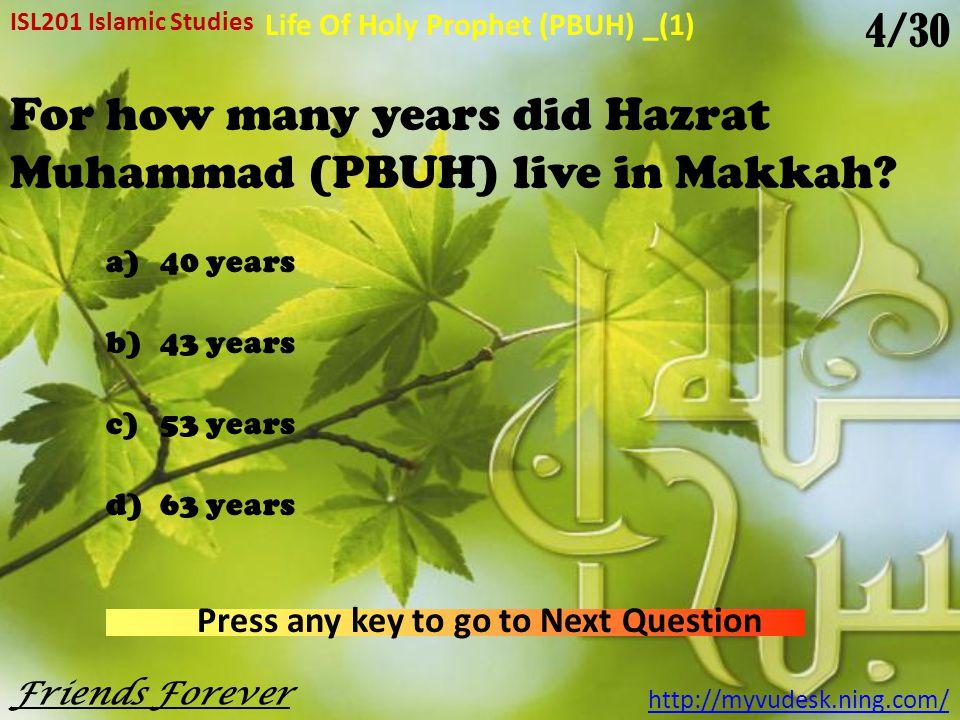 Where was Hazrat Muhammad (PBUH) born.
