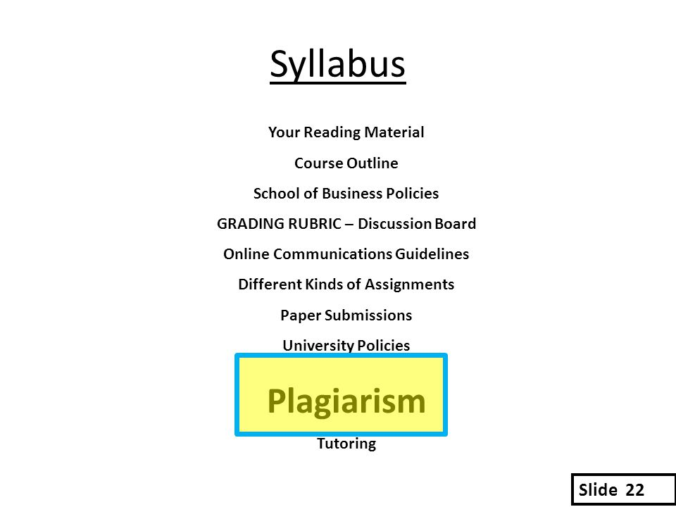 Syllabus Your Reading Material Course Outline School of Business Policies GRADING RUBRIC – Discussion Board Online Communications Guidelines Different Kinds of Assignments Paper Submissions University Policies Plagiarism Tutoring Slide 22