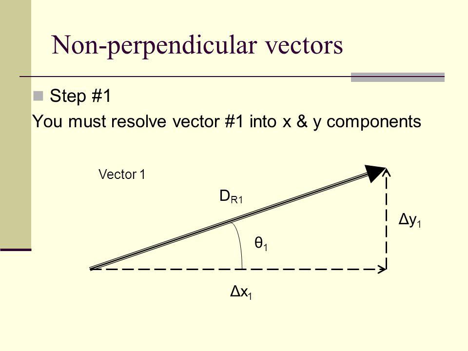 Non-perpendicular vectors Step #2 You must resolve vector #2 into x & y components Vector 2 Δx 2 Δy 2 D R2 θ2θ2