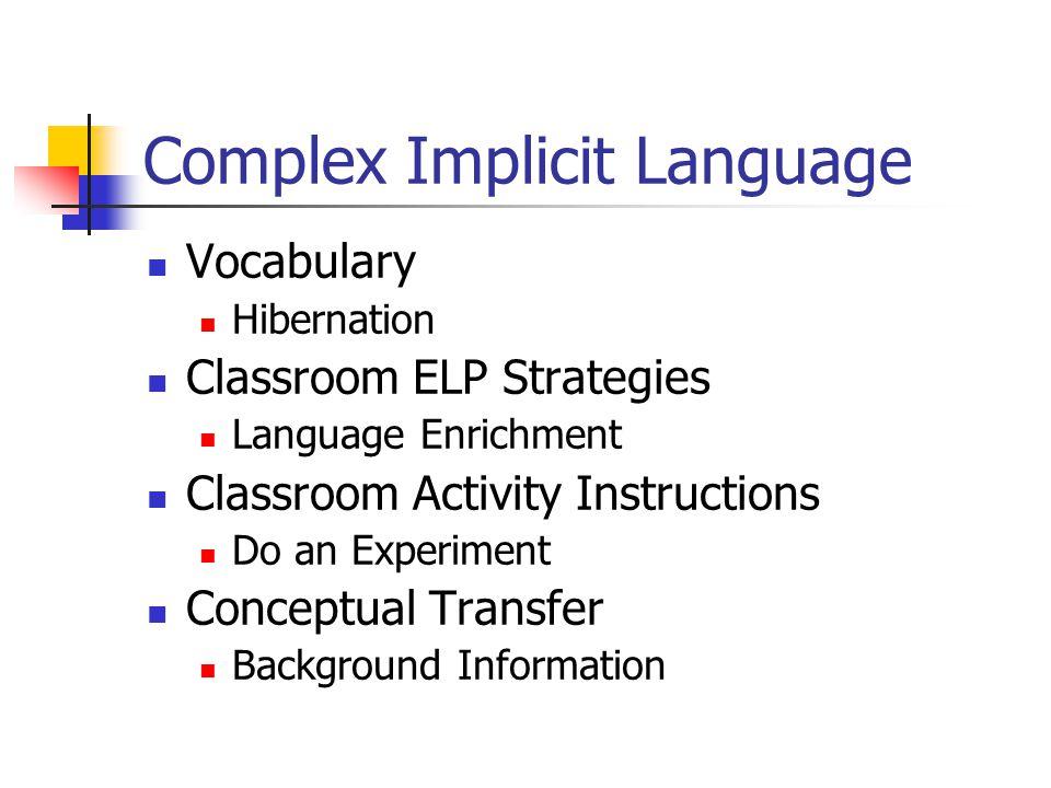 Complex Implicit Language Vocabulary Hibernation Classroom ELP Strategies Language Enrichment Classroom Activity Instructions Do an Experiment Conceptual Transfer Background Information