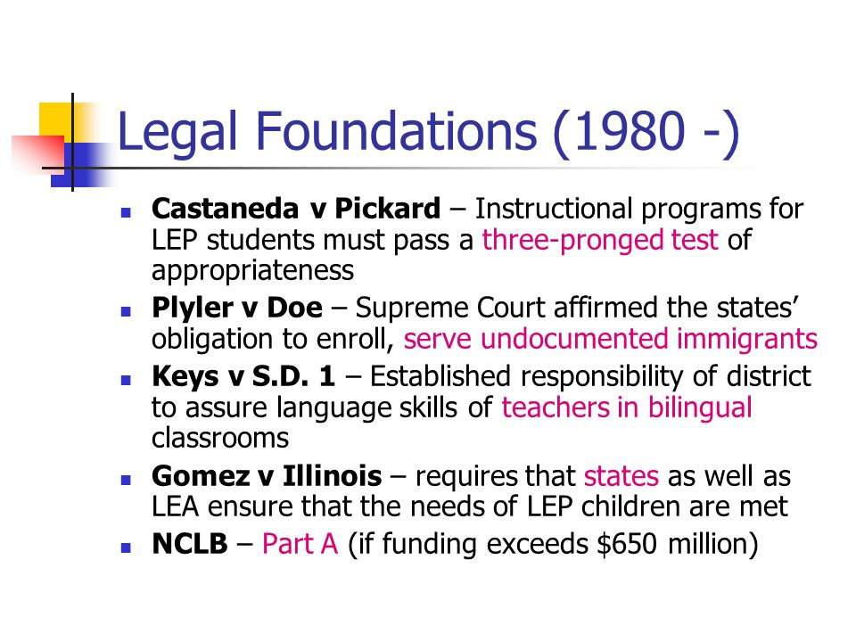 Legal Foundations (1980 -) Castaneda v Pickard – Instructional programs for LEP students must pass a three-pronged test of appropriateness Plyler v Doe – Supreme Court affirmed the states' obligation to enroll, serve undocumented immigrants Keys v S.D.