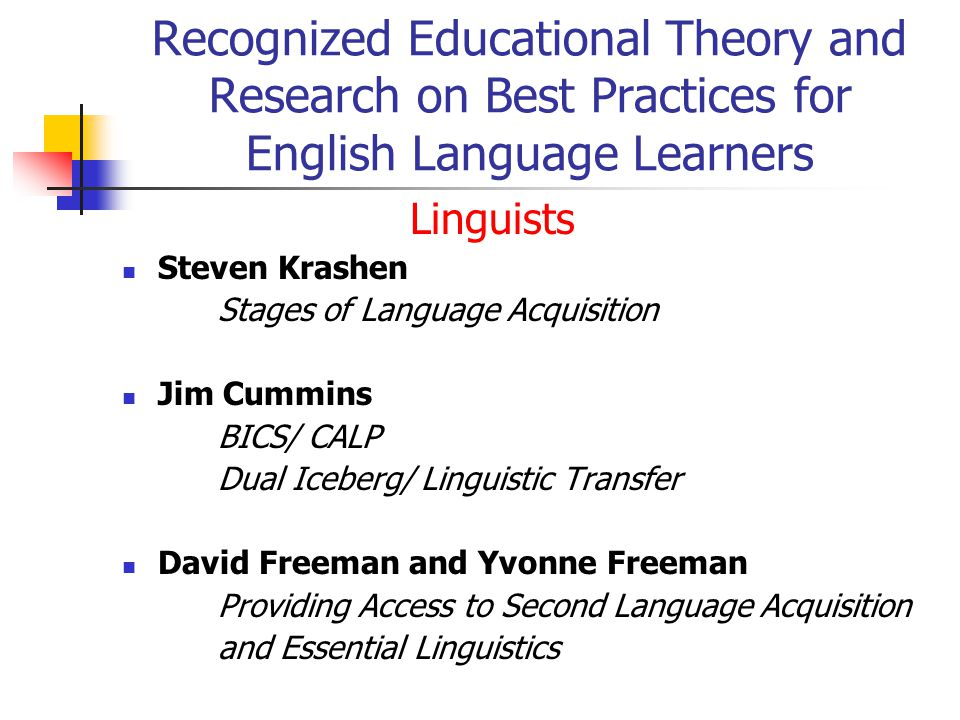 Recognized Educational Theory and Research on Best Practices for English Language Learners Linguists Steven Krashen Stages of Language Acquisition Jim