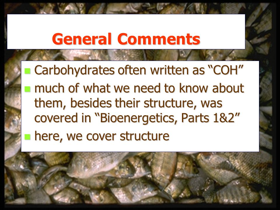 General Comments n Carbohydrates often written as COH n much of what we need to know about them, besides their structure, was covered in Bioenergetics, Parts 1&2 n here, we cover structure