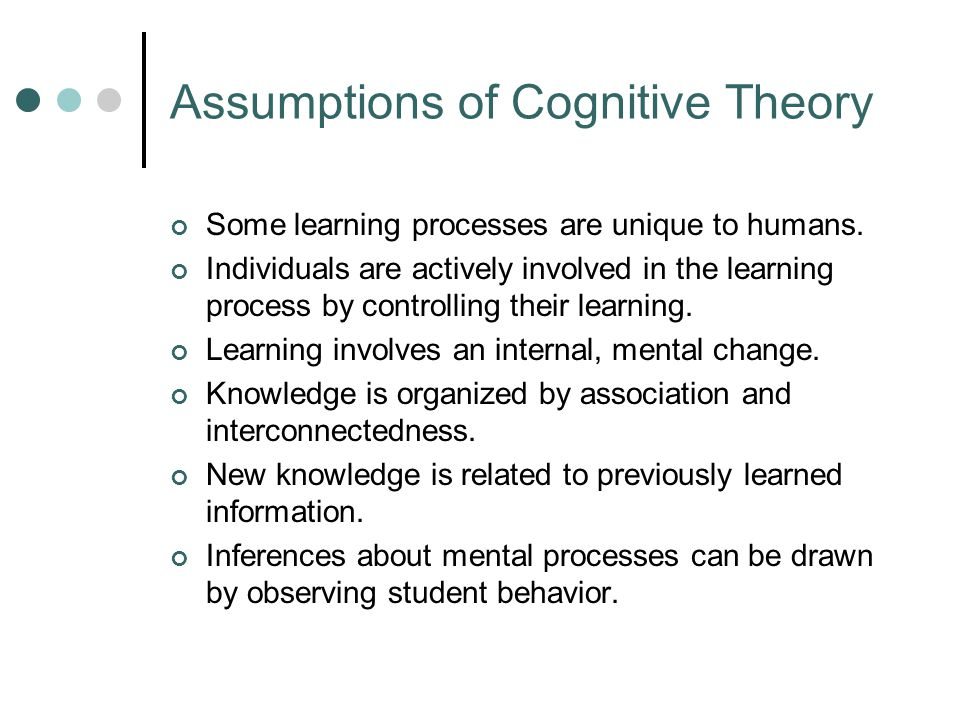 Implications of Cognitive Theory Learning is a function of how information is processed.