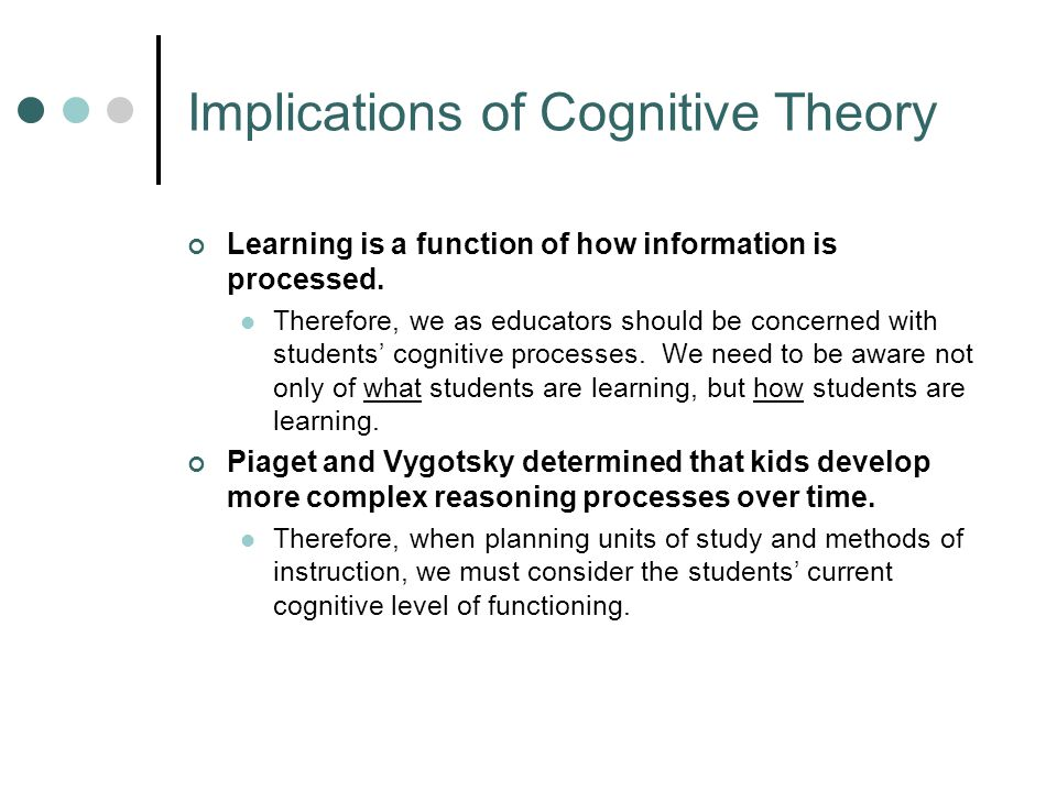 Implications of Cognitive Theory, continued As people learn, they mentally organize new information.