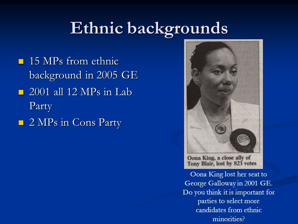 Ethnic backgrounds 15 MPs from ethnic background in 2005 GE 15 MPs from ethnic background in 2005 GE 2001 all 12 MPs in Lab Party 2001 all 12 MPs in L