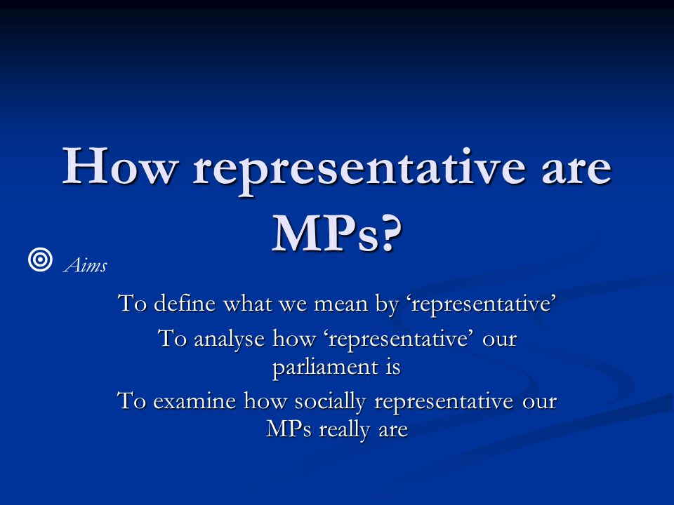 How representative are MPs? To define what we mean by 'representative' To analyse how 'representative' our parliament is To examine how socially repre